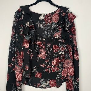 Leith Floral Ruffle Top with Bell Sleeves